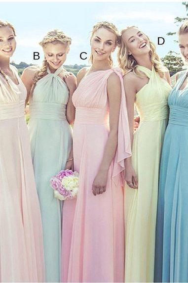 long chiffon bridesmaid gown bridal dress customization