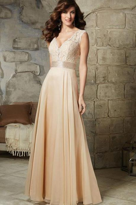 V-neckline Long Chiffon Bridesmaid Dress Evening Party Gown With Embriodery