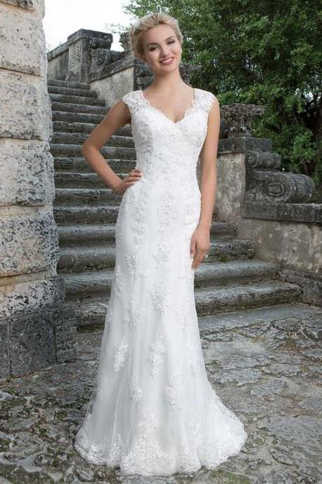 Elegant A-line Lace Wedding Dress Sweetheart Bridal Party Dress Ivory