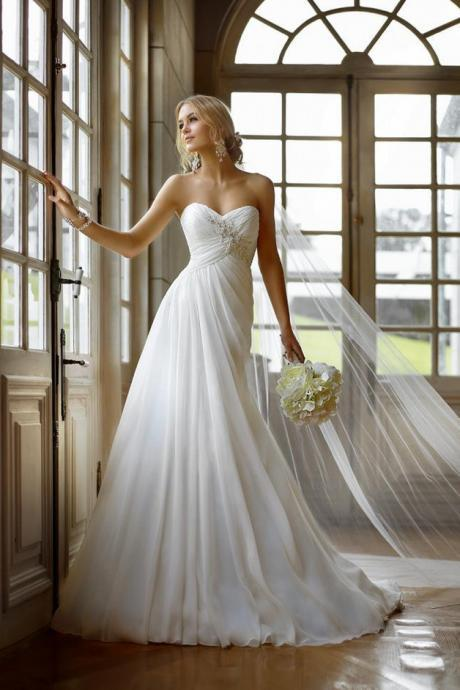 Strapless Ruffle Wedding Bridal Dresses