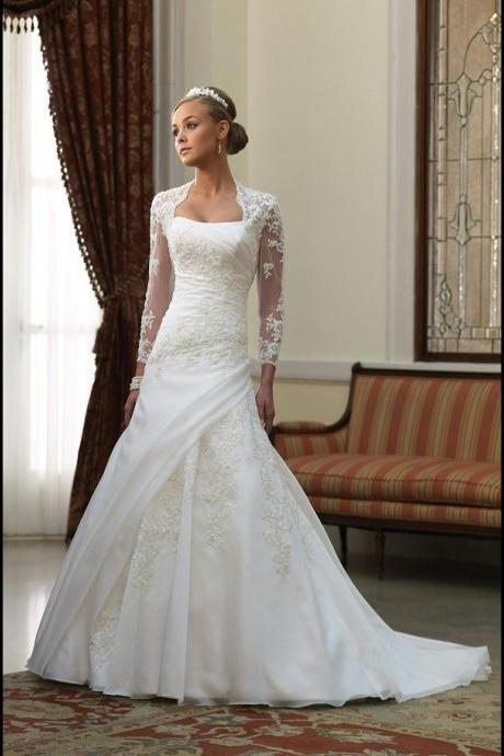 A-line Bridal Dresses Ivory Customization