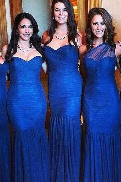 NavyBule Strapless Bridesmaid Dress